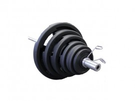 Troy VTX 300 lb Olympic Rubber Coated Weight Set w/ 7 ft Bar