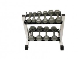 5-25lb Hex Dumbbell Set with Rack