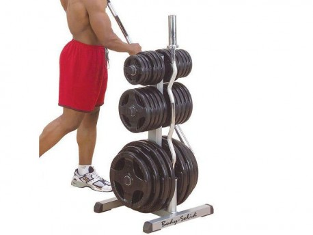 Body Solid Olympic Plate Tree and 2-Bar Rack, Commercial Grade