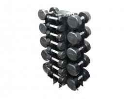 Troy 3-50lb Premium Rubber Dumbbell Set with Vertical Rack