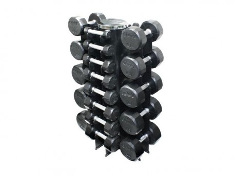 Troy 3-50lb Premium Rubber Dumbbell Set with Vertical Rack