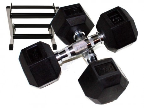 5-25lb Rubber Hex Dumbbell Set with Rack
