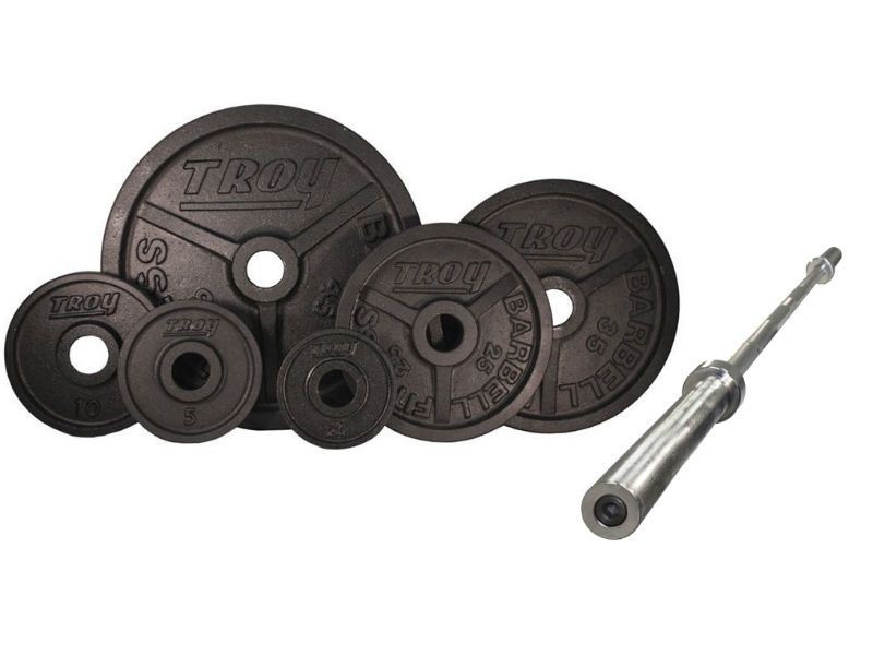 Troy 300 Lb Olympic Premium Black Weight Set W 7 Ft Bar