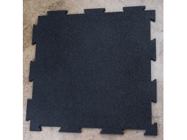 "Black 7/16"" Interlocking Rubber Floor Tiles"