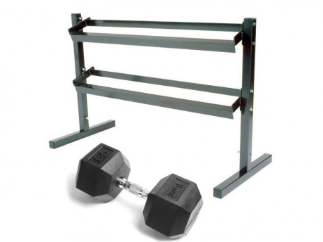 York 5-50lb Rubber Dumbbell Set with Rack