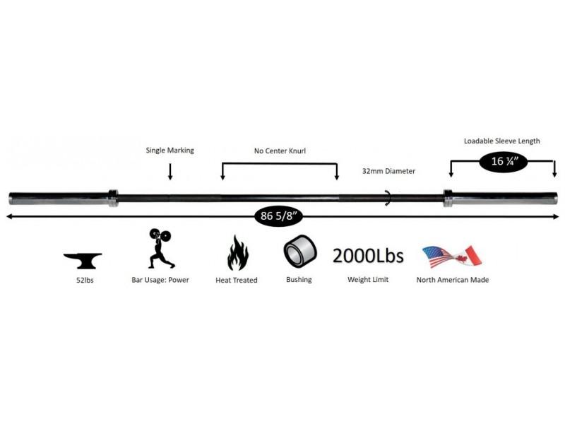 York North American Olympic Bar Black Oxide 32mm