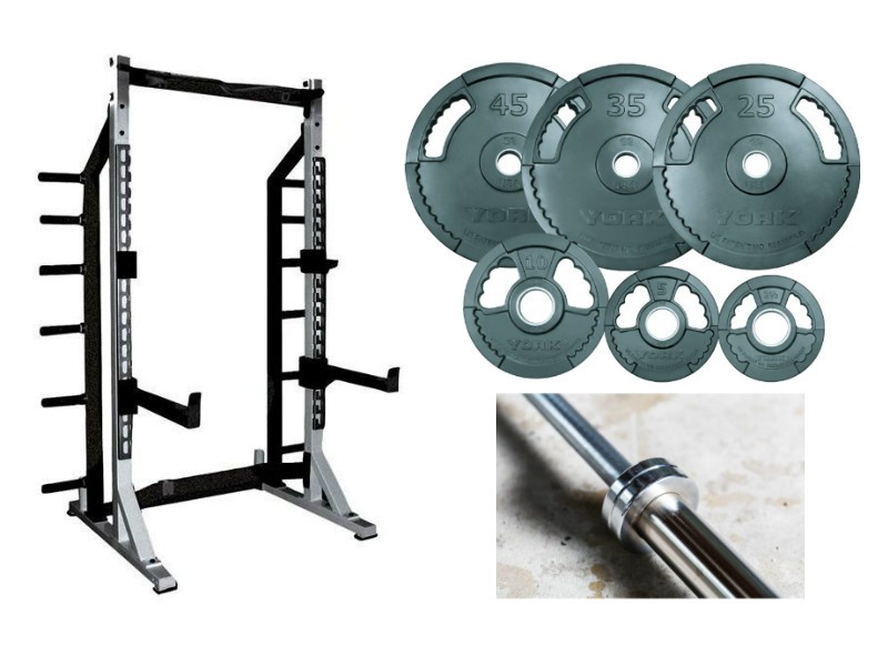York sts squat rack and weights for sale for Squat rack set