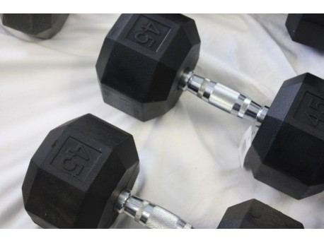 *MINOR RUST AND SCRATCHES* Troy VTX Rubber 8-Sided Dumbbell