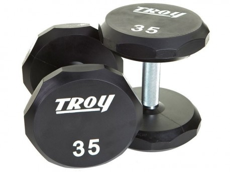 Troy Premium Urethane Dumbbell Set 5-50lb with Rack