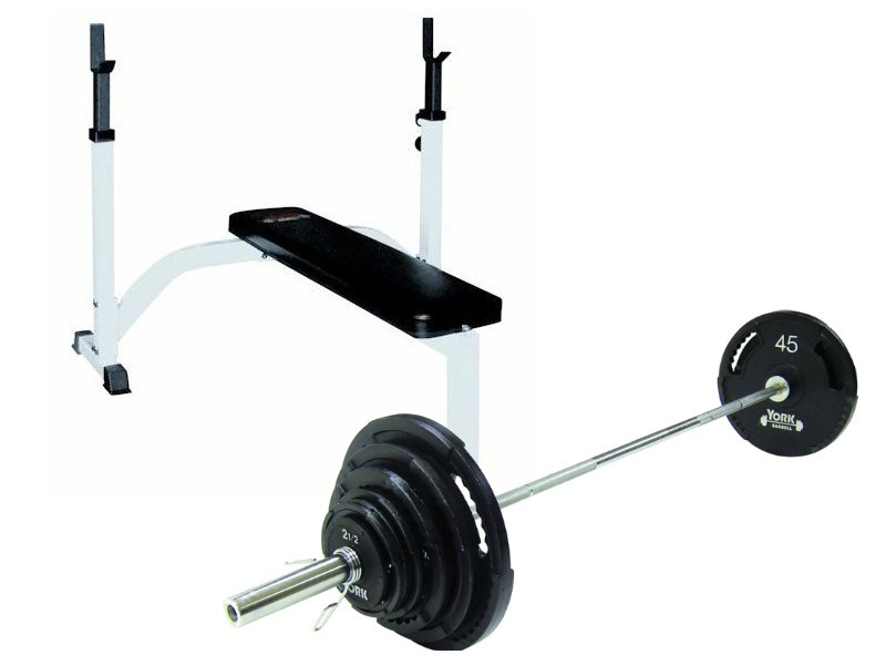 York Fts Weight Bench Set With Bar And Weights For Sale