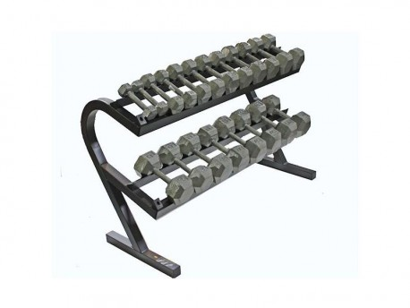 5-50lb Hex Dumbbell Set with Rack