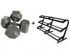 5-100lb Hex Dumbbell Set with Rack