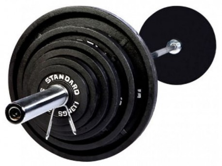 210 lb Olympic Weight Set w/ 7 ft Bar & Black Plates