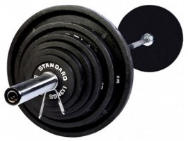 300 lb Olympic Weight Set w/ 7 ft Bar & Black Plates